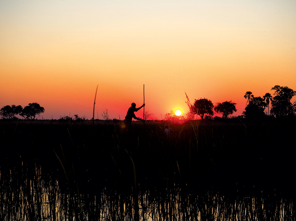 A trip to the Okavango Delta is not complete without a sunset cruise in a mokoro. Photo by Kee Foong