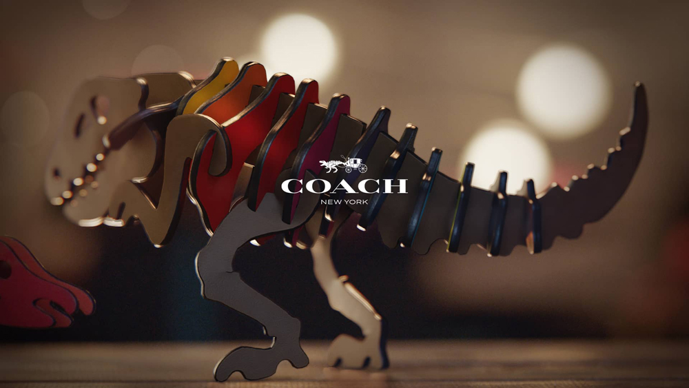 Coach's adorable Rexy the T-Rex in leather
