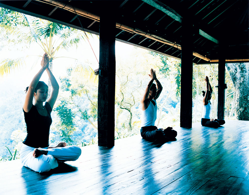 Outdoor yoga classes in the glory of nature and the sources of its sacred waters ensure guests come back for more
