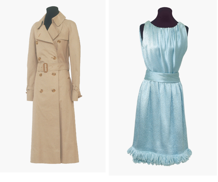 Hepburn's Burberry Trench (left, estimate: £10,000-15,000) and Satin Givenchy Gown (right, Estimate: £6,000-8,000)