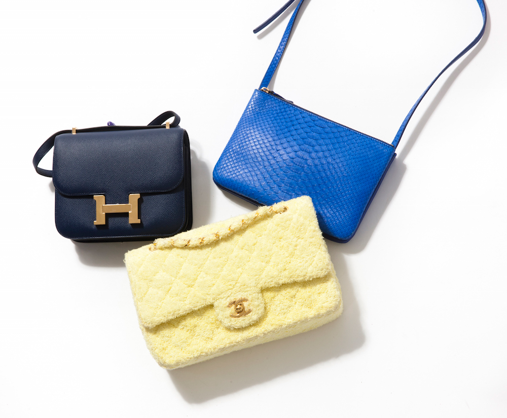 Vestiaire Collective has more than 3,200 new products listed daily, and they range from classics such as the Hermès Constance in Epsom leather (left), exotics such as the Céline Trio in electric blue python (right), or a Chanel Classic Flap in yellow terry cloth (bottom).