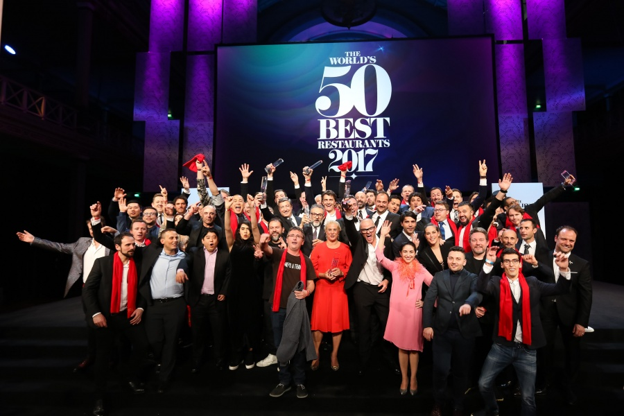 Winners celebrate at The World's 50 Best Restaurants awards ceremony at the Royal Exhibition Building, Melbourne.