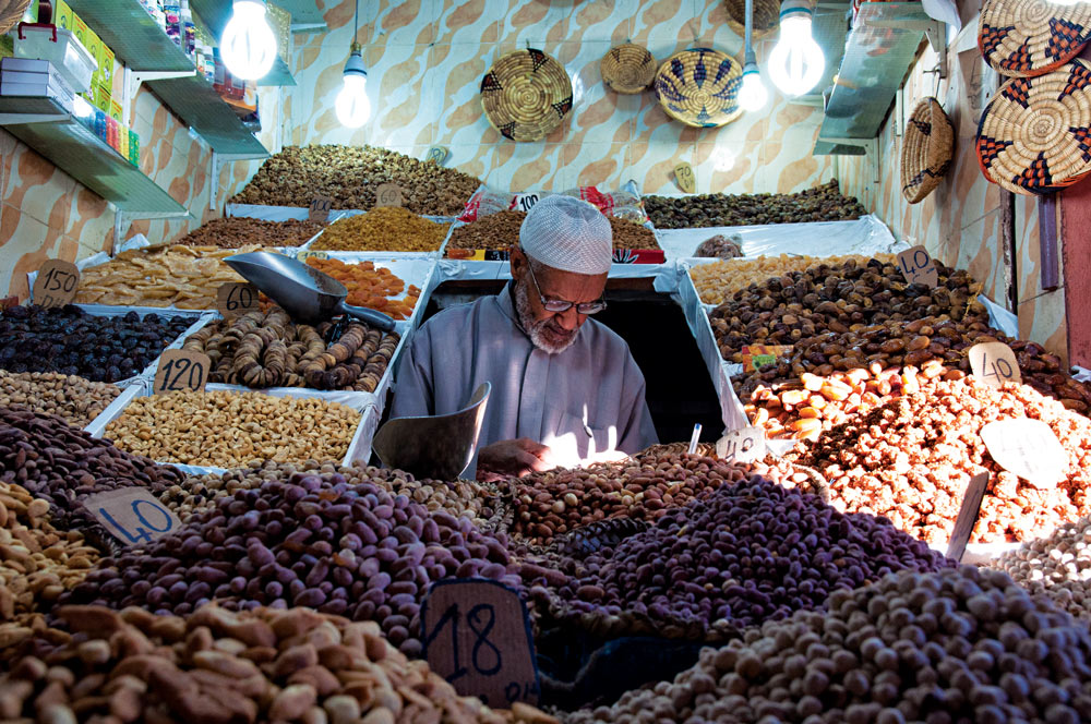 A dry fruit stall in the souk of the medina