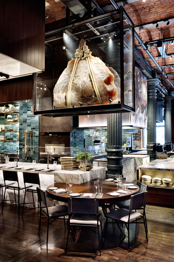 The interior of Chef's Club New York City, complete with their iconic rock salt feature