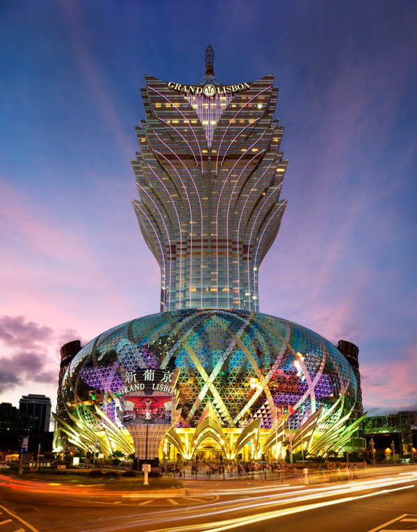 You can't miss the Grand Lisboa hotel, it towers over Macau