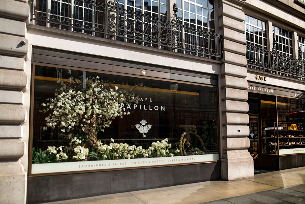 The view of Café Papillon from Regent Street