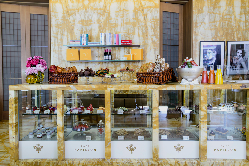 Café Papillon's display of freshly baked bread and pâtisseries