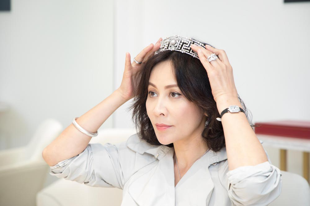 Carina Lai with Cartier Tradition tiara