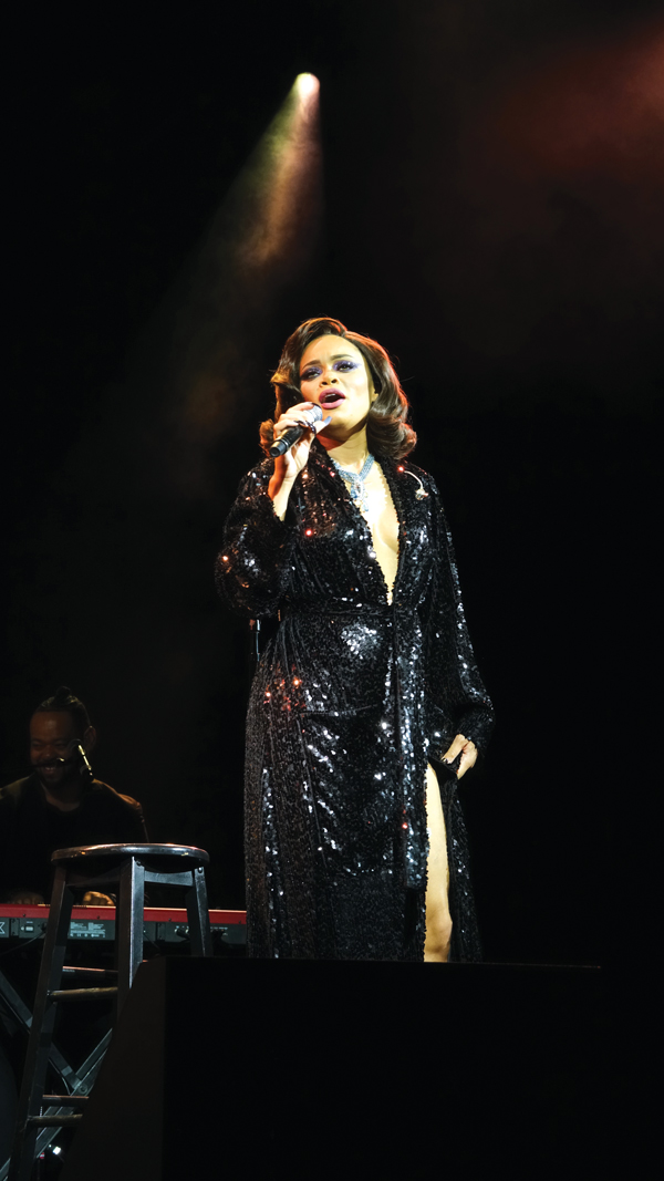 Jazz diva Andra Day performs at the star-studded party on Governors Island