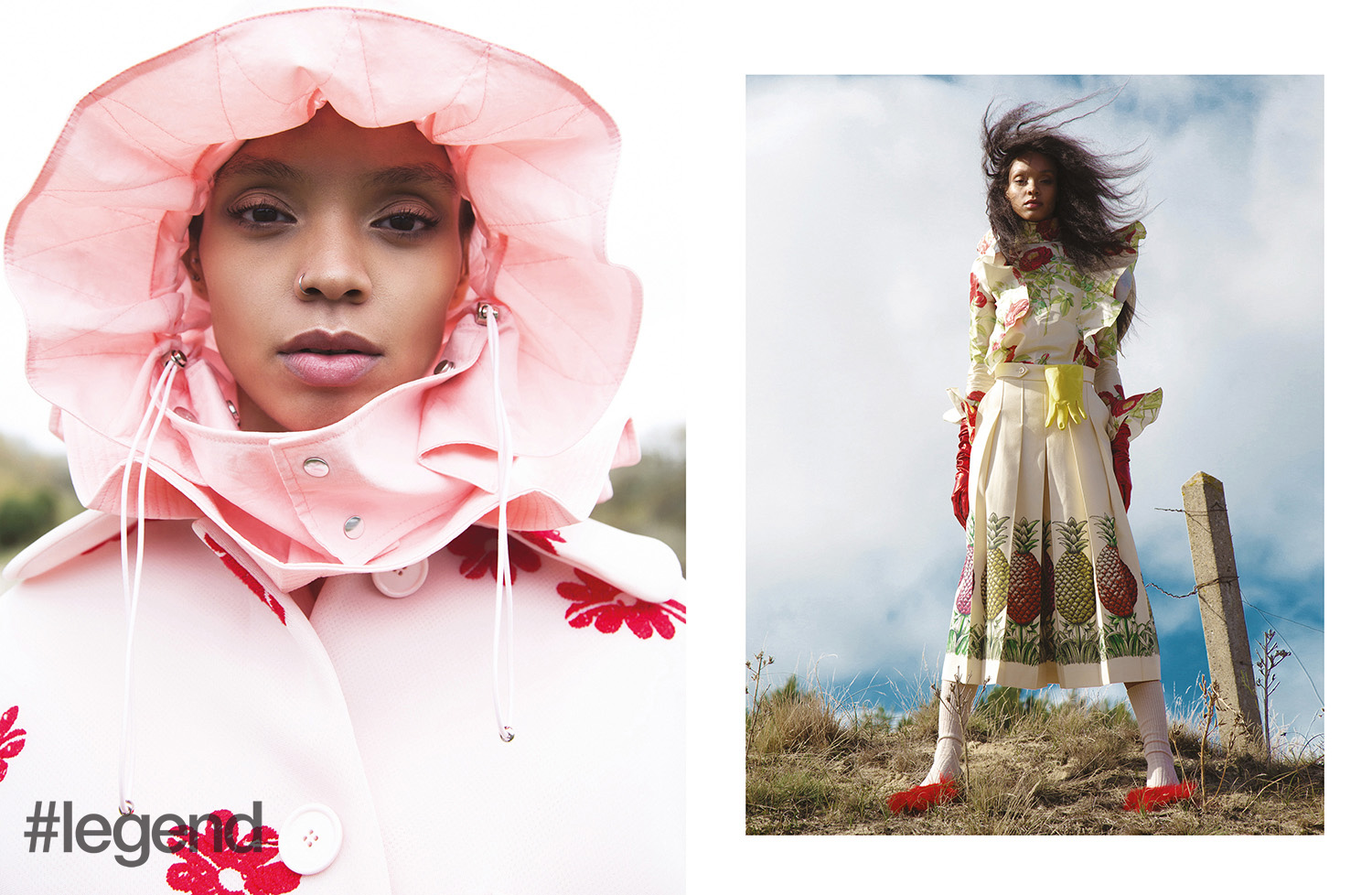 LEFT: Hat _ Angel Chen | Coat _ Simone Rocha; RIGHT: Top and skirt _ Gucci | Gloves, socks and shoes _ Stylist's own