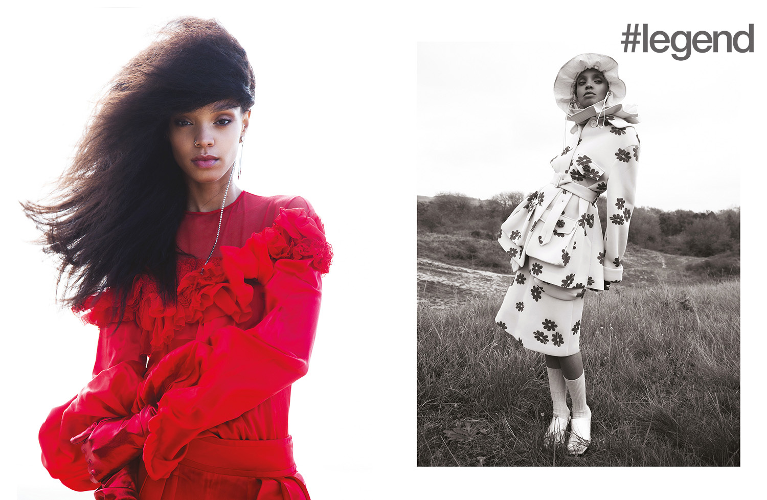 LEFT: Outfit _ Givenchy | Earring _ Mo&Co; RIGHT: Coat and skirt _ Simone Rocha | Hat and shoes _ Angel Chen | Socks _ Stylist's own