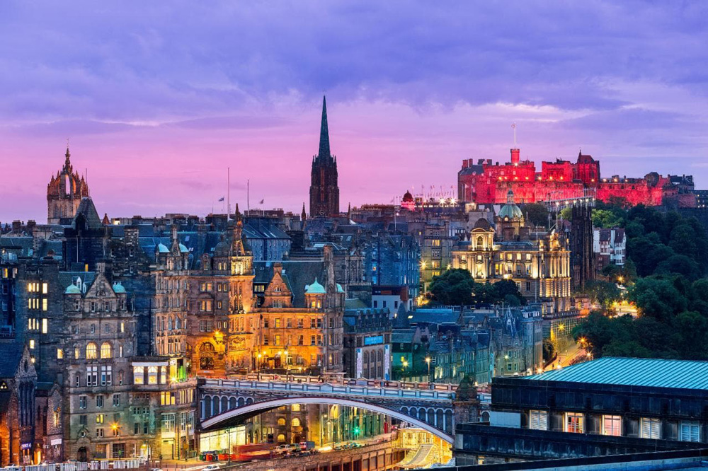 Edinburgh's Old Town illuminated at night