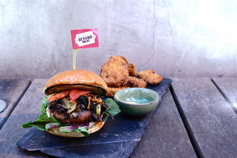 The lotus root chips and vegan 'Beyond Burger' at Grassroots Pantry
