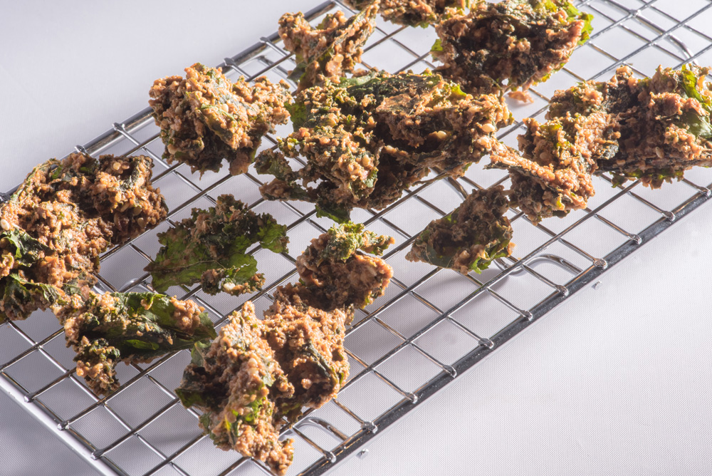 Freshly baked kale chips from Nood Food