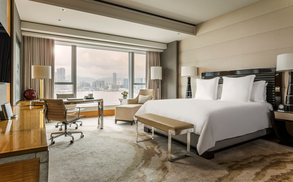 The spacious Club Premier Harbour-View room