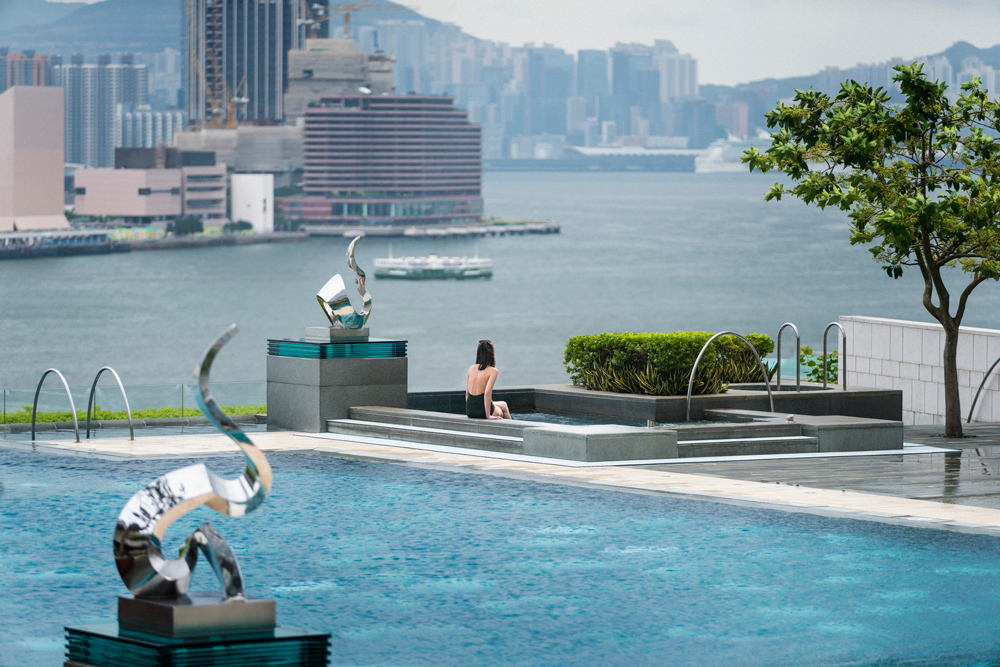 The beautiful infinity pool and jacuzzi boasts one of the best views in the city