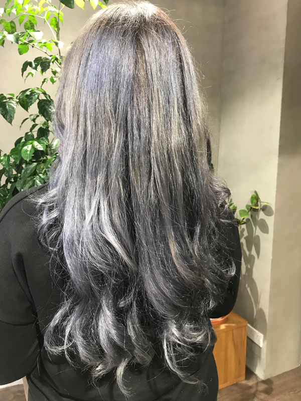 The 'after' photo: a sleek and shiny blue-grey, done completely with toner