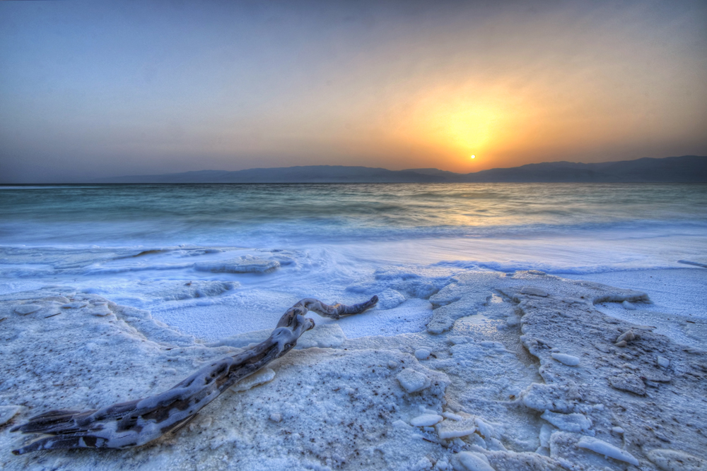 The famed Dead Sea at dusk