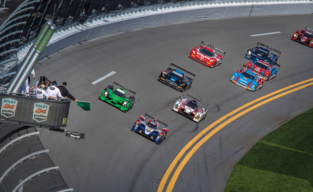 Exiting the International Horseshoe in the 2016 Rolex 24 (photo by Rolex/Tom O'Neil)