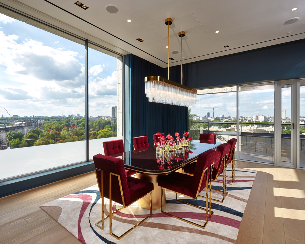A formal dining room, with views over Victoria