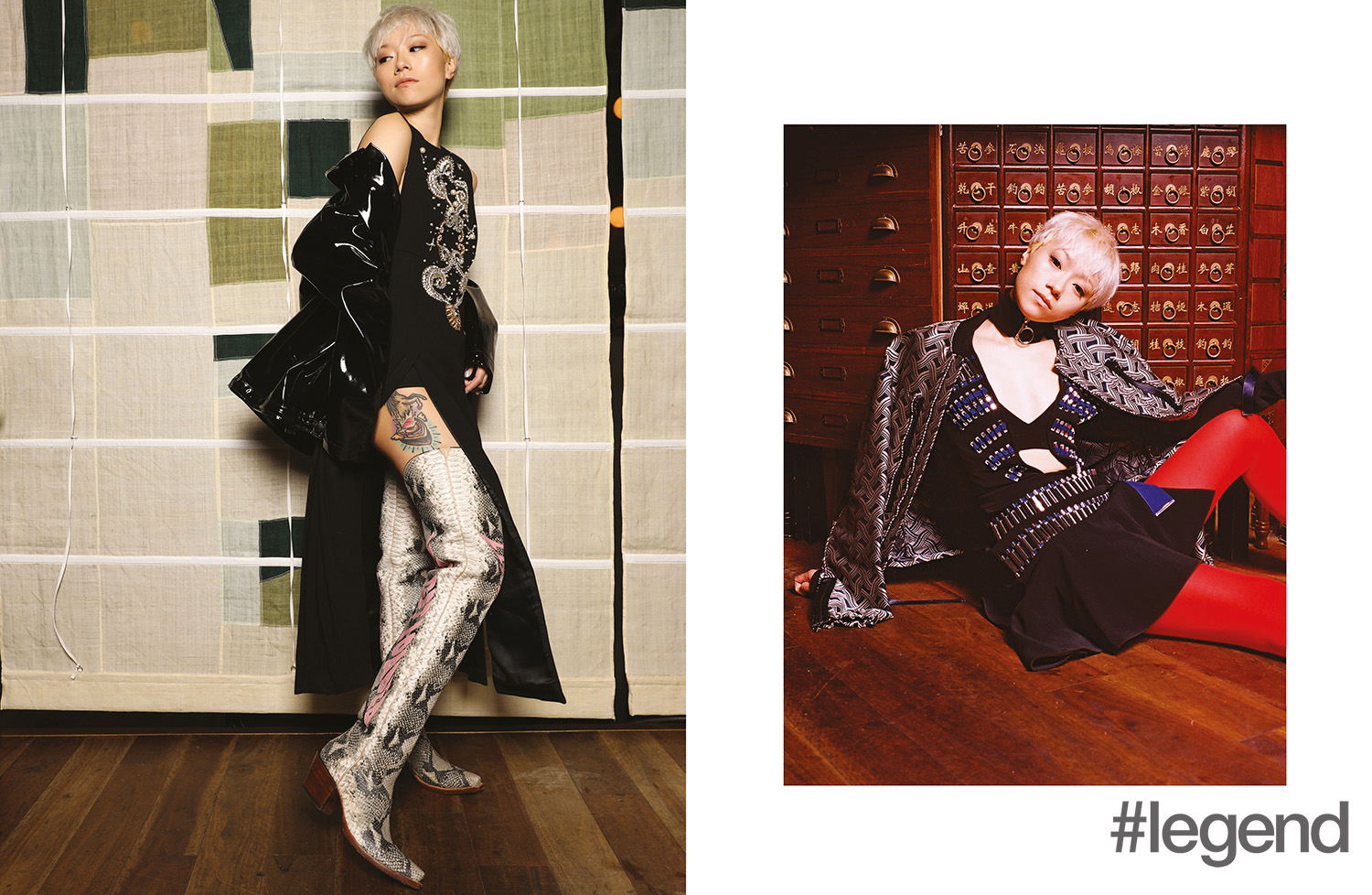 Left: Dress by Fausto Puglisi at Joyce, jacket from Monki and boots by Rocketbuster x House of Holland; Right: Jacket from Victoria Victoria Beckham at Joyce,  dress by David Koma at Joyce and choker and stockings by Monki