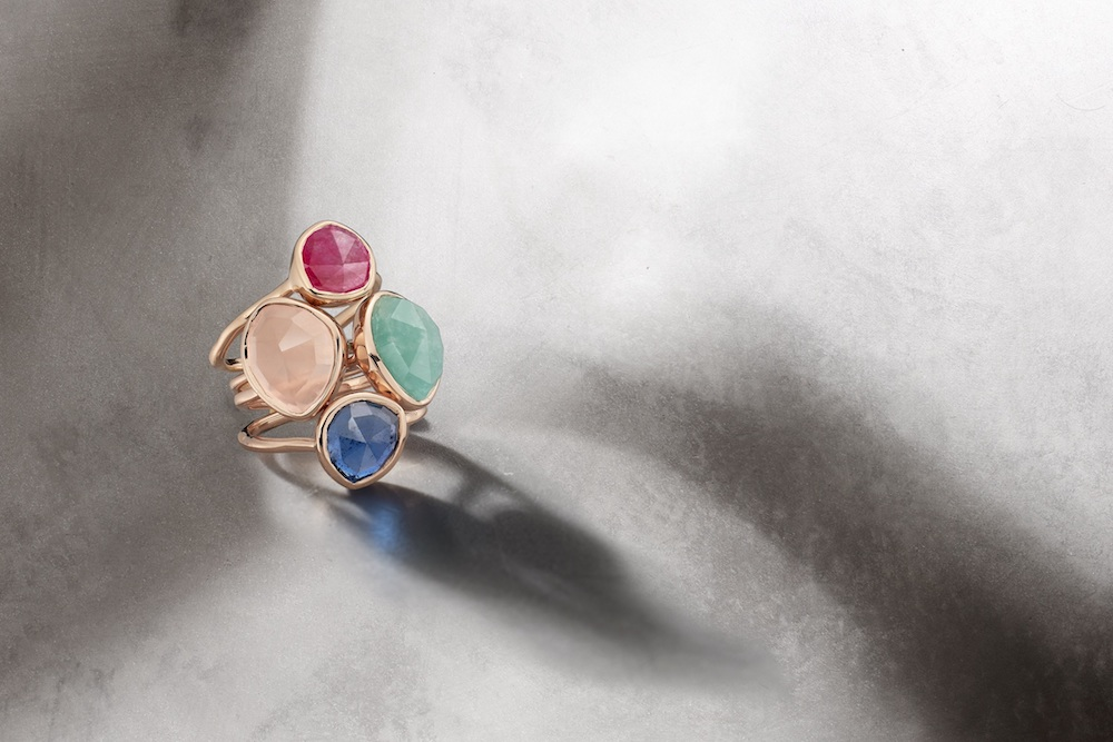 Monica Vinader's Siren rings in various sizes with Pink Quartz, Rose Quartz, Green Onyx and the new Kyanite