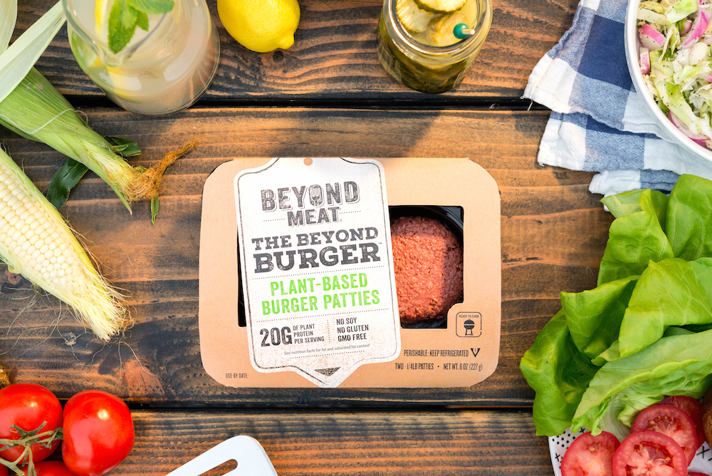 The Beyond Burger patties are made from beetroot juice, coconut oil and pea protein