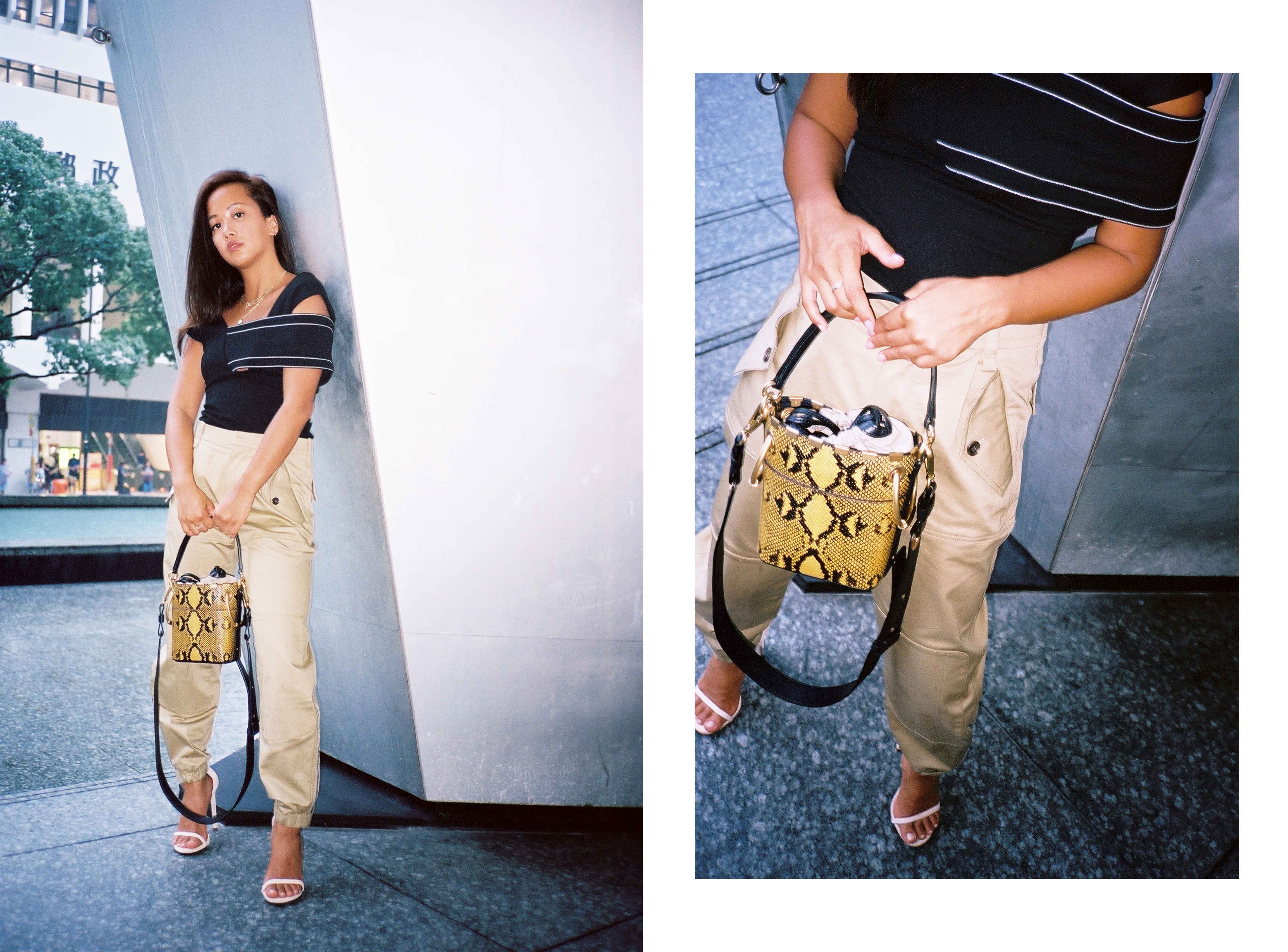 Chloe wears a Rosetta Getty top and Chloé pants via Lane Crawford, shoes by Stuart Weitzman