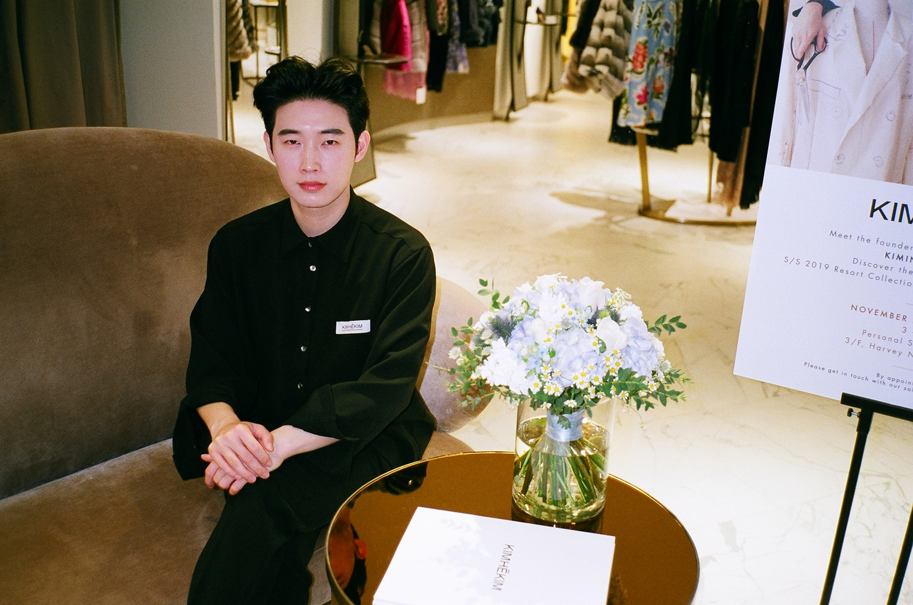 Kiminte Kimhekim visiting Harvey Nichols with his new SS19 collection