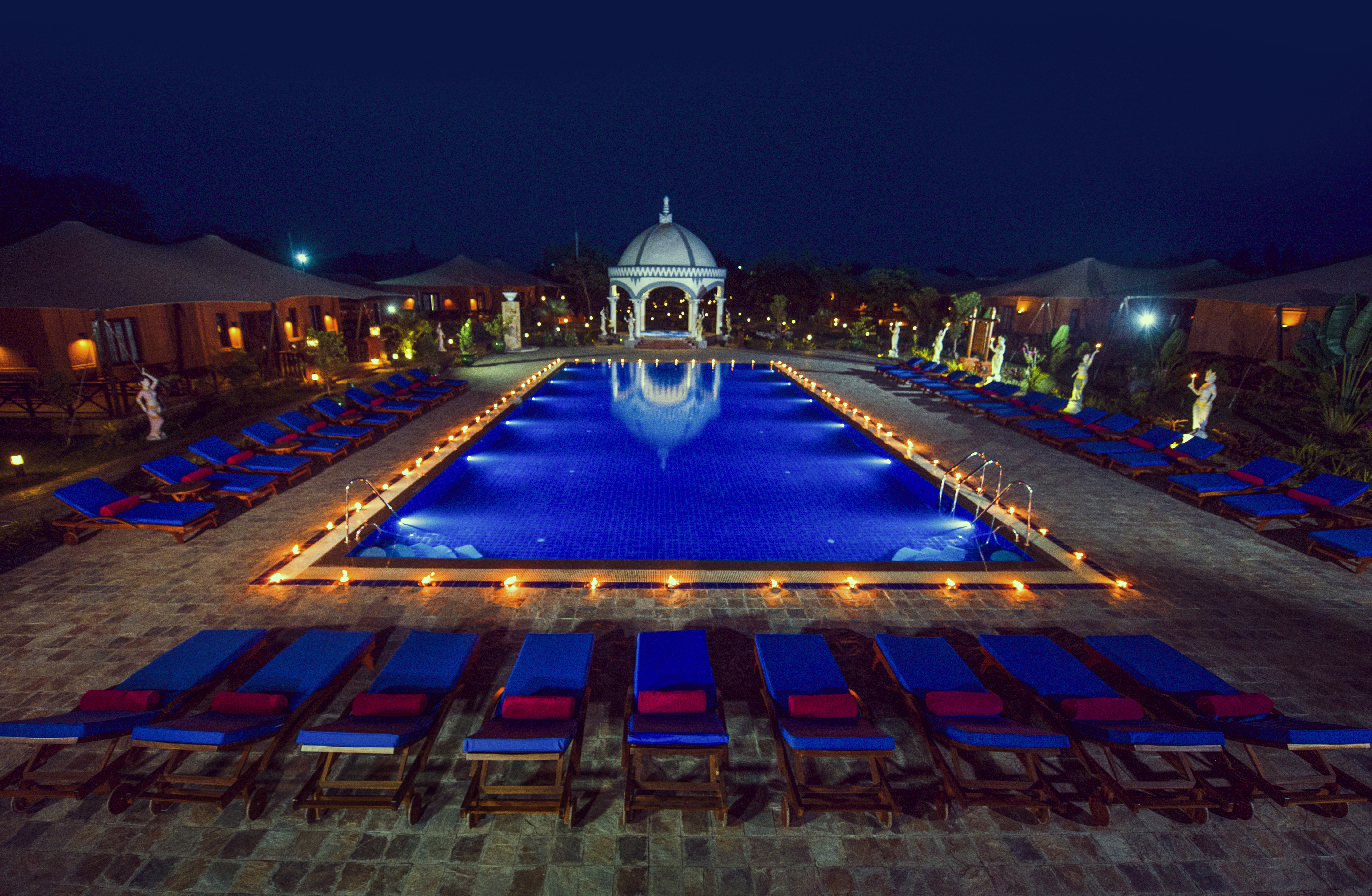 The Bagan Lodge at night