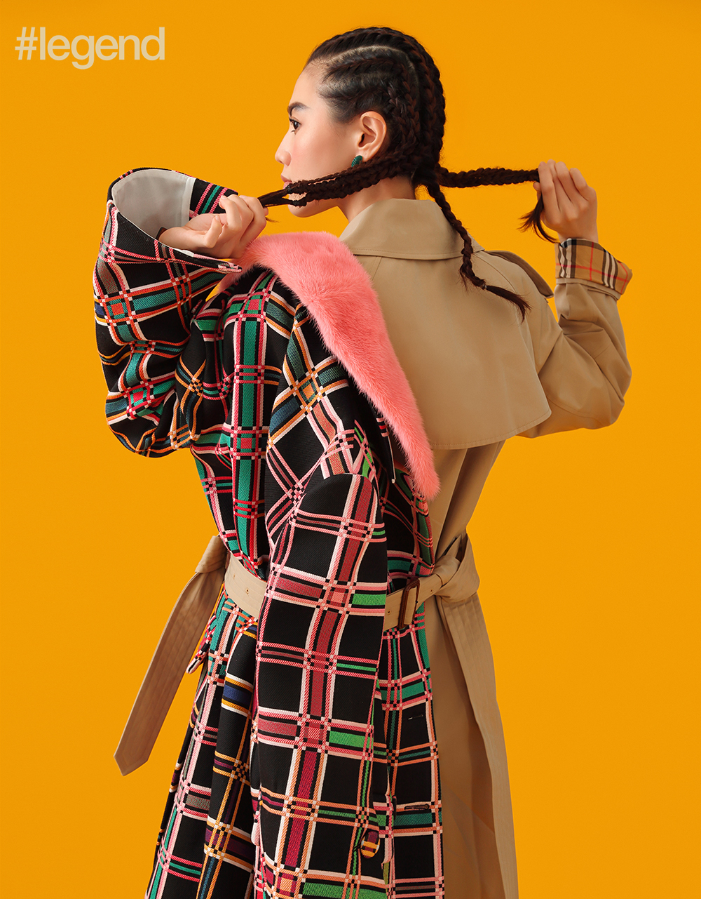 Checked coat by Miu Miu, trenchcoat by Burberry, earrings by Céline