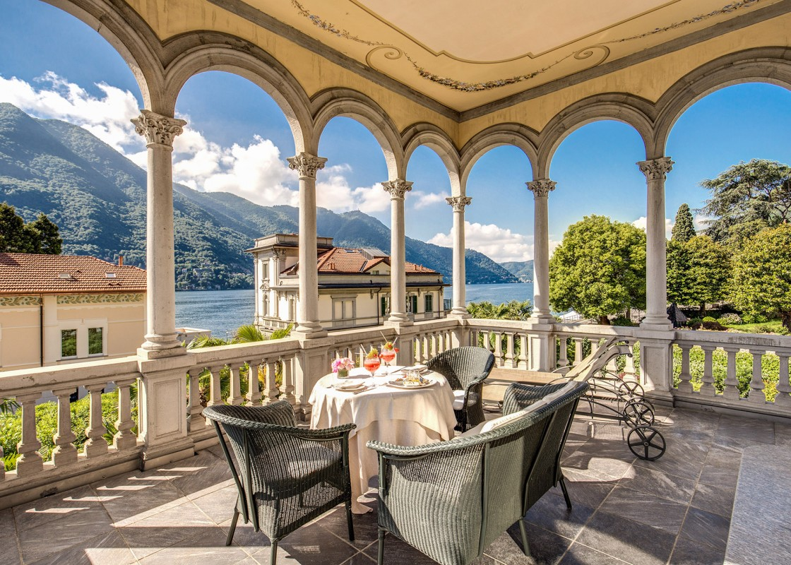 View of the lake from an Art Nouveau porch at Grand Hotel Imperiale in Moltrasio (Photo: Grand Hotel Imperiale)