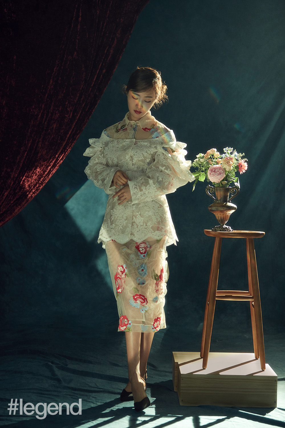 Blouse, top and skirt by Simone Rocha, from I.T and shoes by Nicholas Kirkwood from I.T