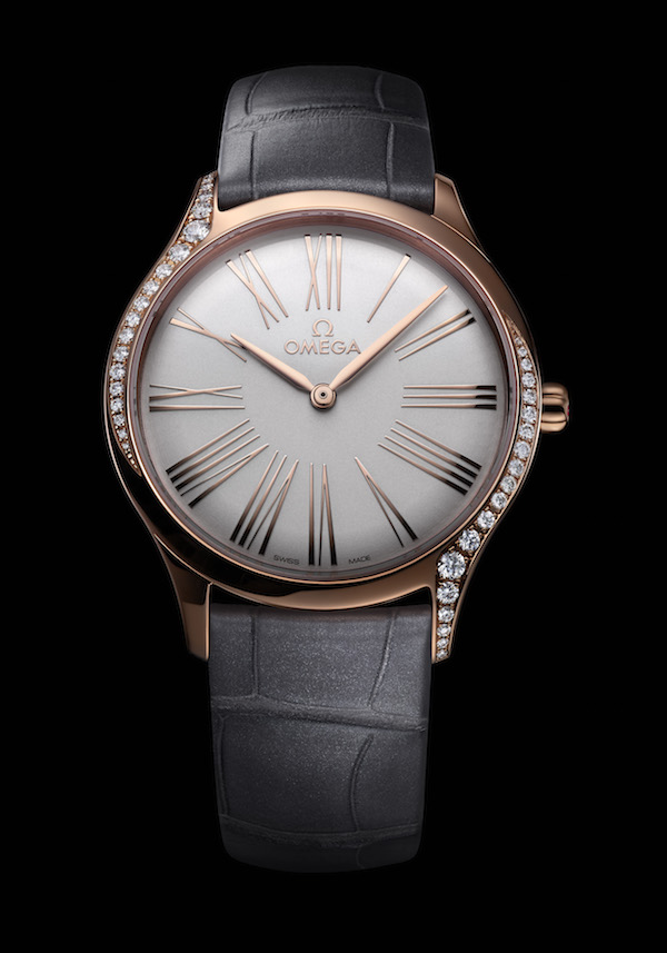 The Sedna gold Omega Trésor with lacquered opaline silver dial and grey leather strap