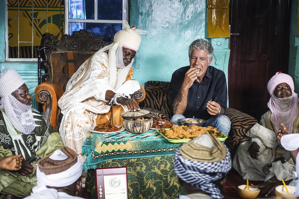 A scene from an episode of Parts Unknown in Lagos, Nigeria