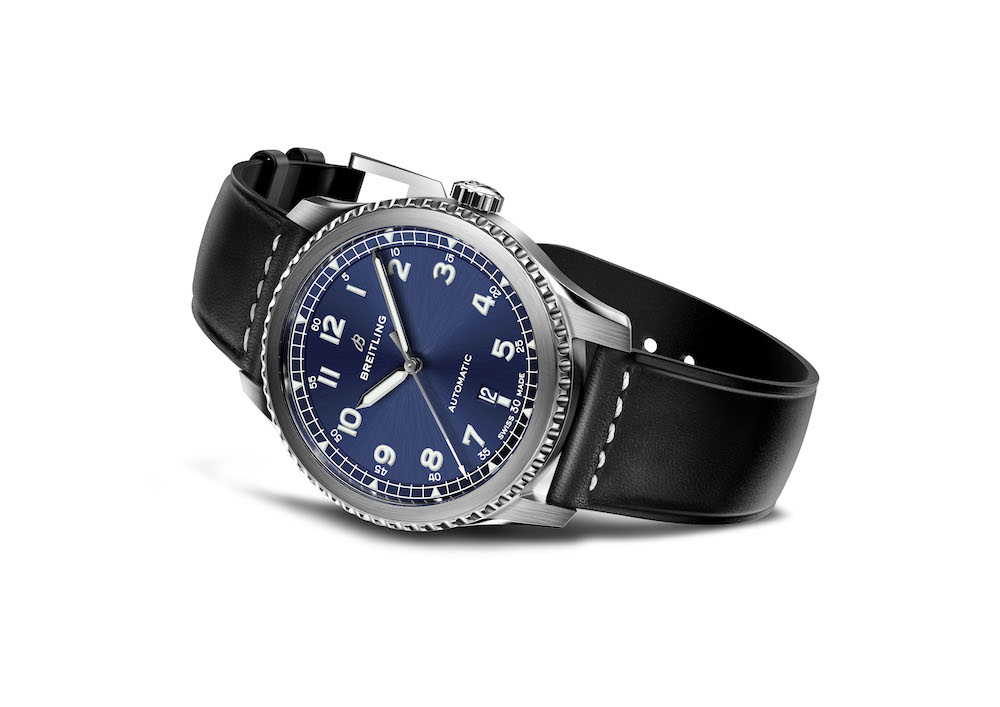 the Navitimer 8 Automatic with blue dial and a black leather strap