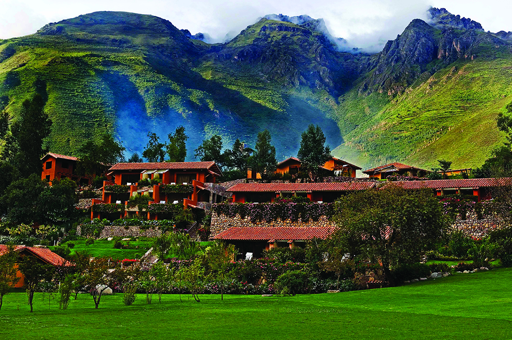 The Belmond Hotel Rio Sagrado features sprawling gardens and resident baby alpacas