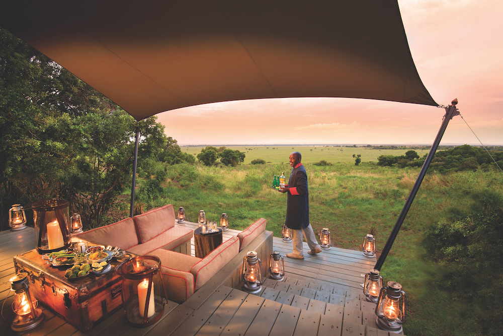 A stay at AndBeyond Bateleur Camp in Kenya involves game drives and bush walks with captivating access to endangered species roaming the wilderness