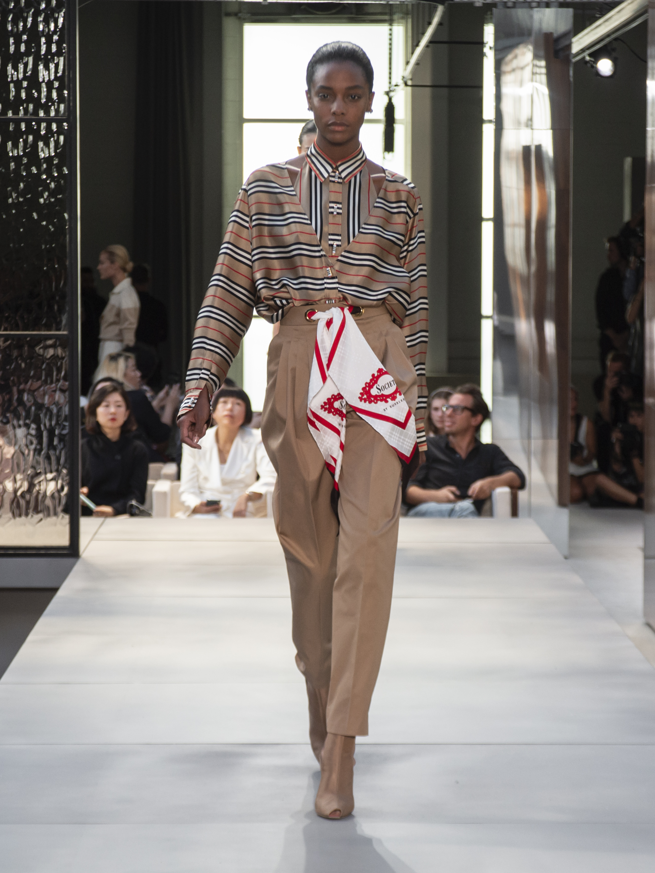Riccardo Tisci reintroduced the check in pinstripes on a variation of looks in the SS19 collection
