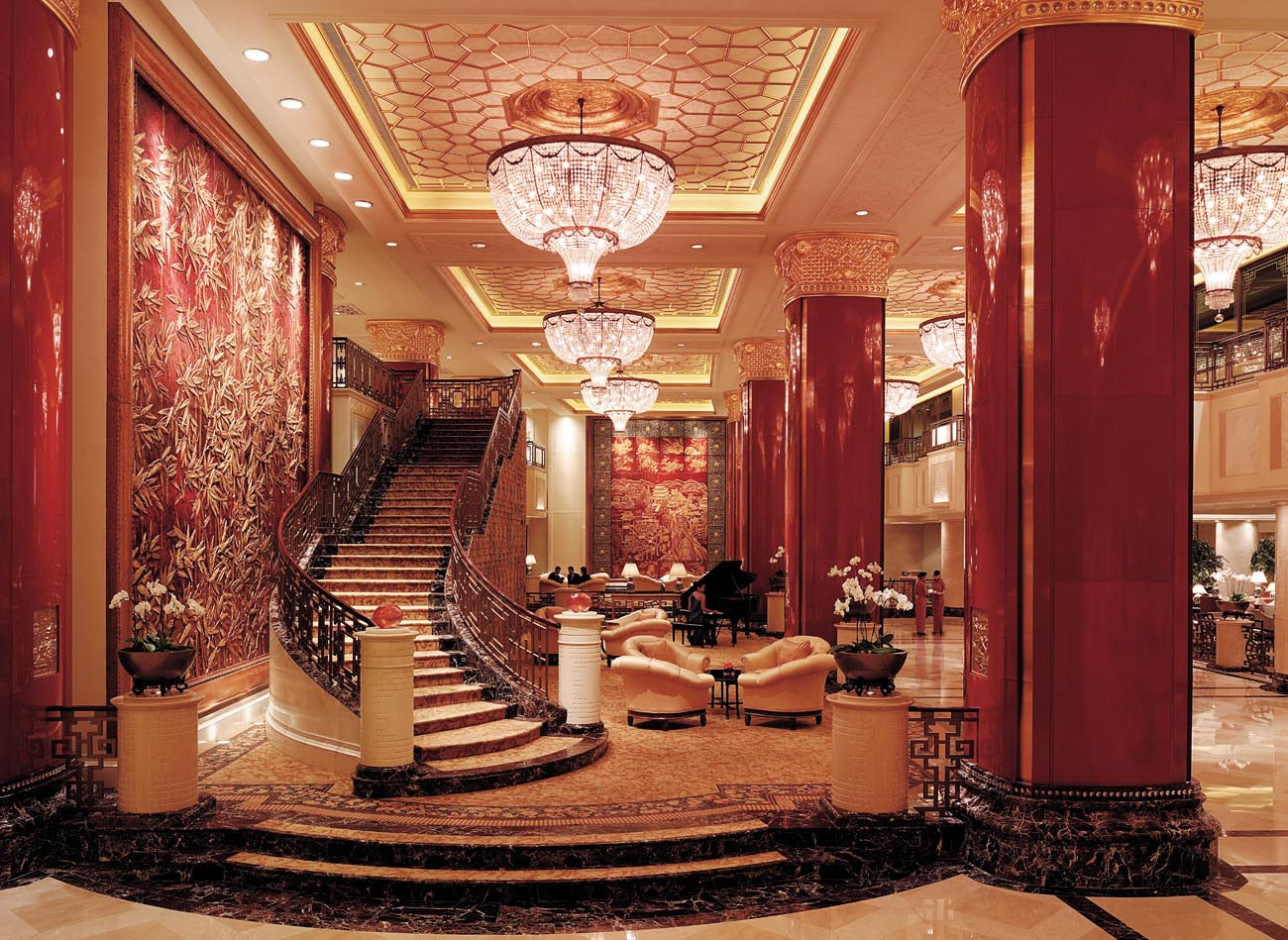 The majestic lobby of the Shangri-La China World Hotel in Beijing; photo: courtesy of Shangri-La