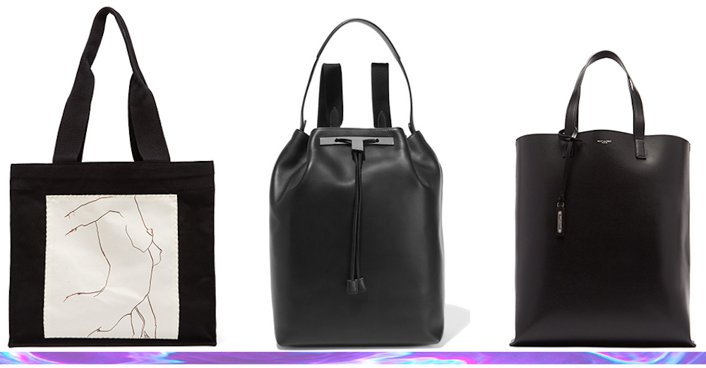 Hillier Bartley Luella Sketch tote, The Row backpack, and Saint Laurent's cabas tote