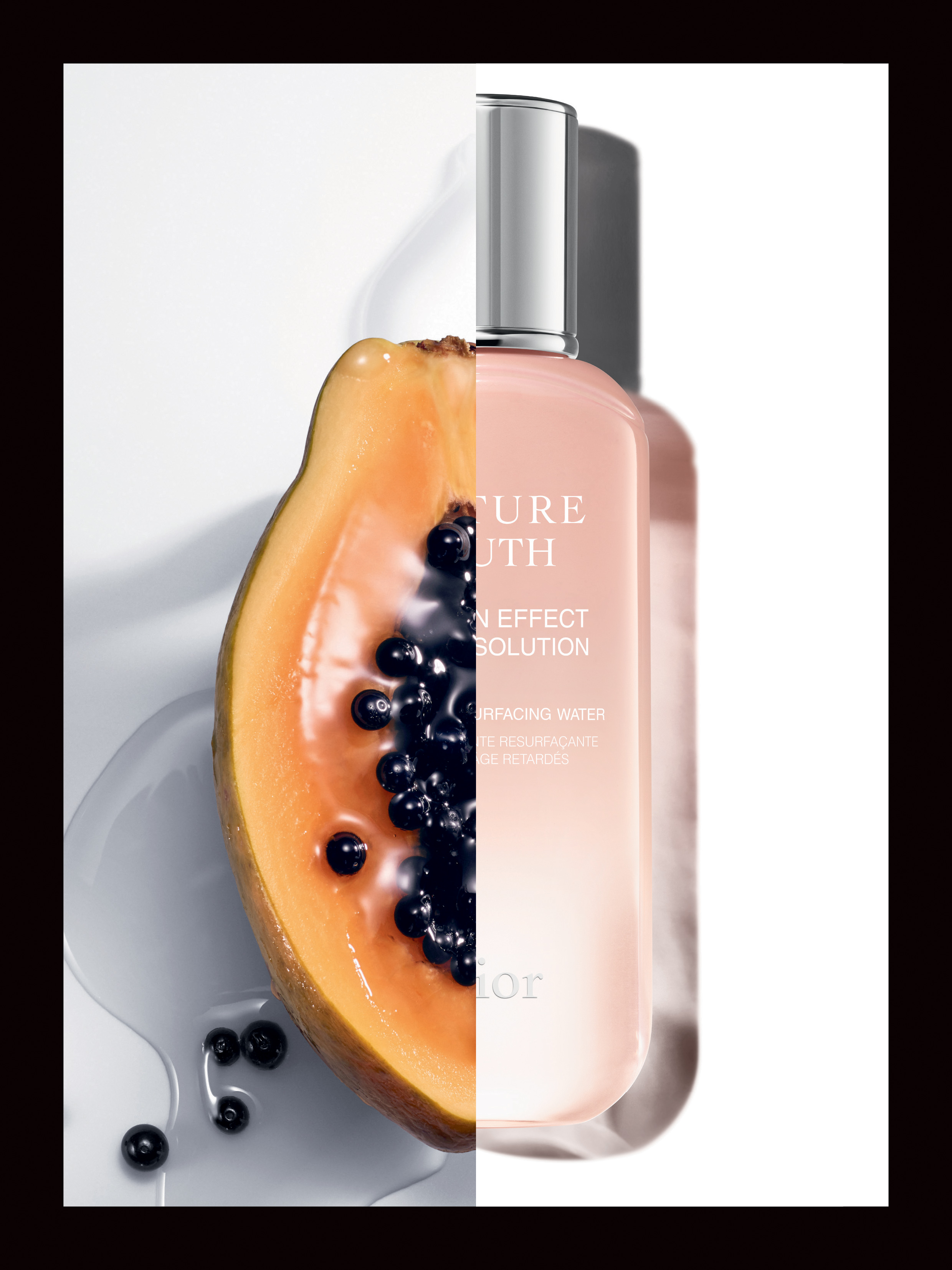 The Age-Delay Resurfacing Water contains rich papaya enzymes to buff away dead skin cells