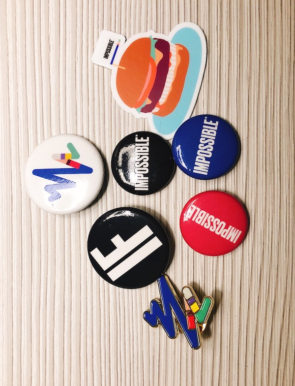 A variety of Impossible Foods merchandise
