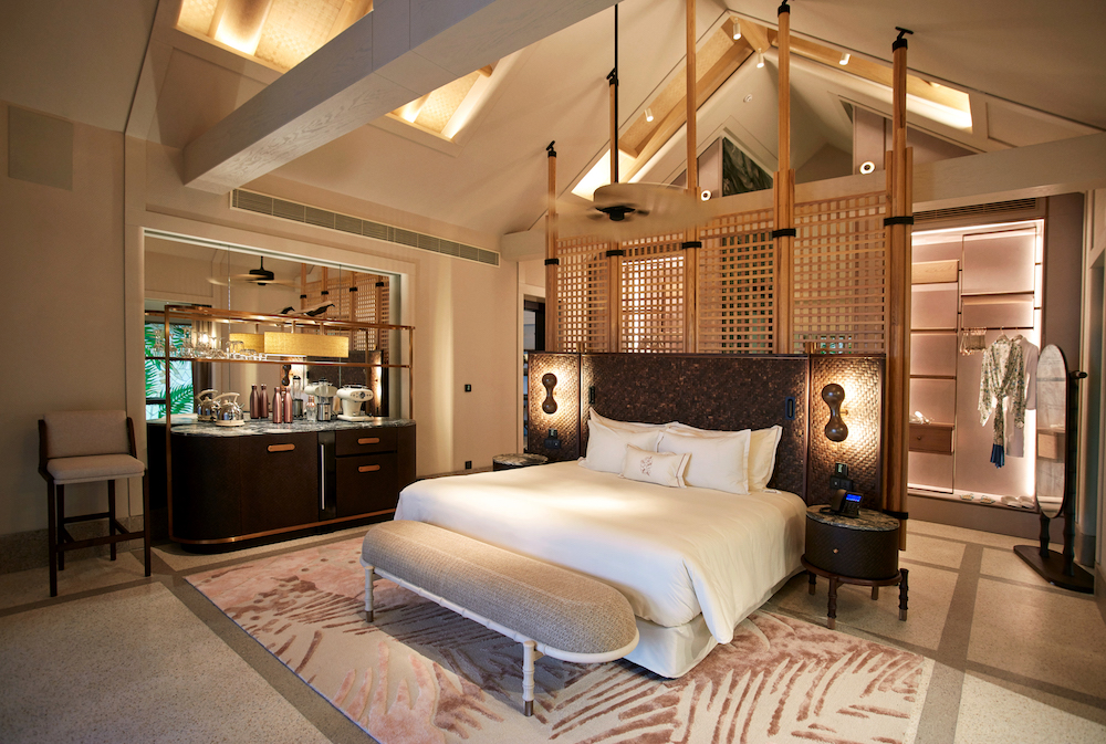 A stately bedroom in the four-bedroom Beach Residence