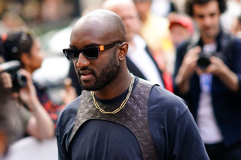 Virgil Abloh, the artistic director of Louis Vuitton men's collection, wearing the Louis Vuitton leather monogram harness.