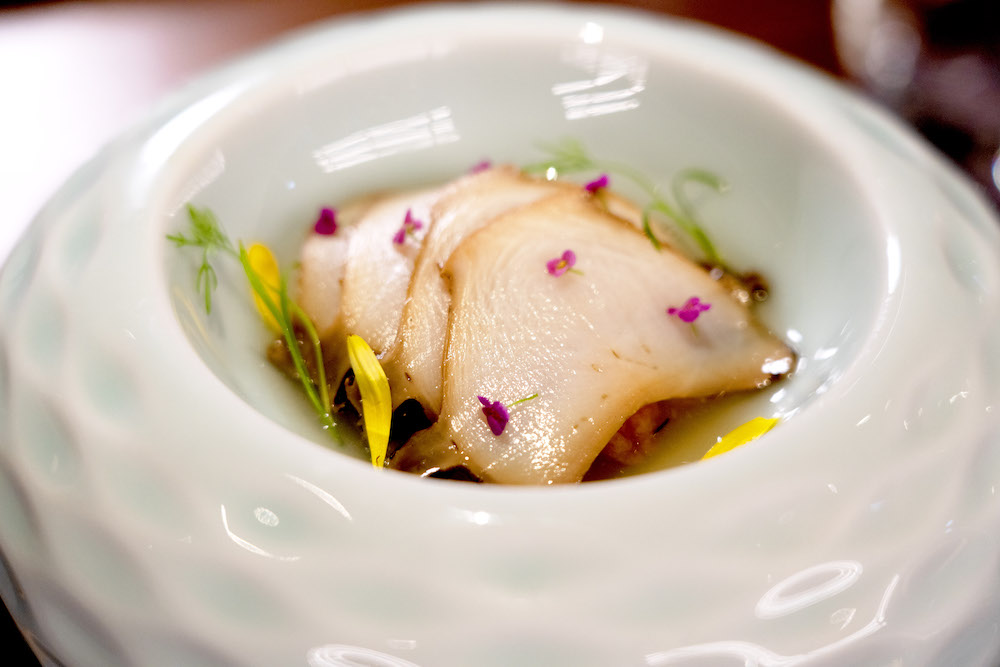 The Japanese Abalone with pickled golden mushrooms and cold duck consommé at ROOT CENTRAL (courtesy of ROOT CENTRAL)