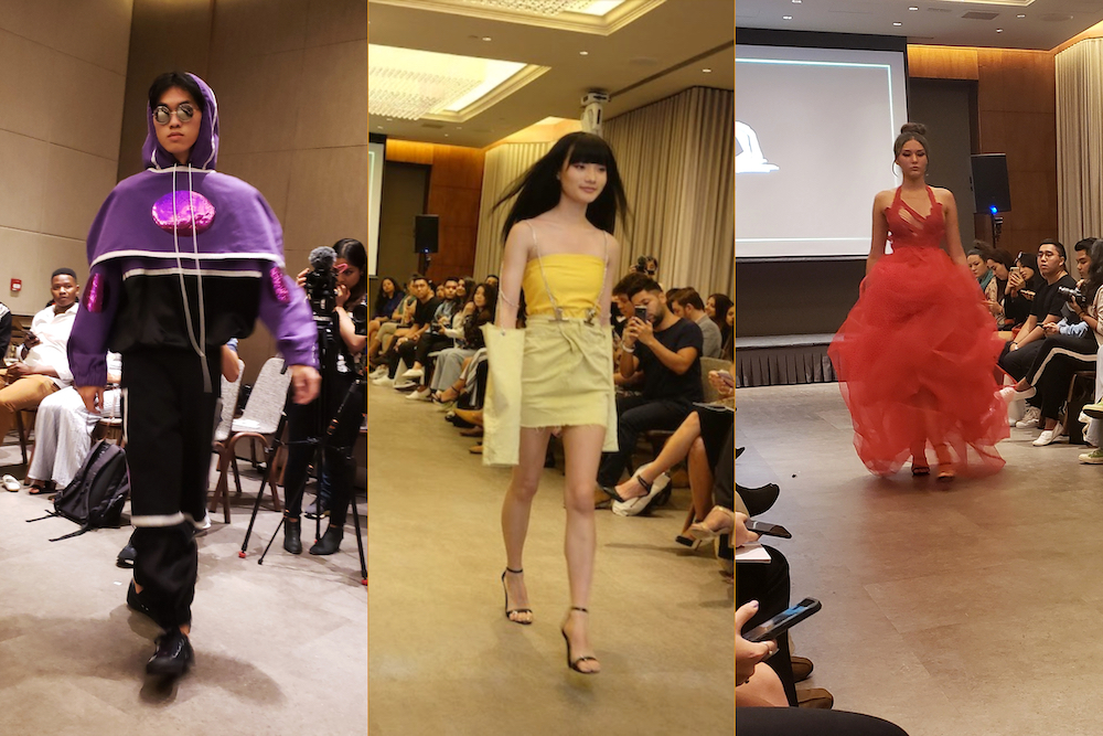 Models from left to right: David for Julia Horvath, Bhumika for Natasha Wang (picture courtesy of Harmony HK), Santia for TP- Design Couture