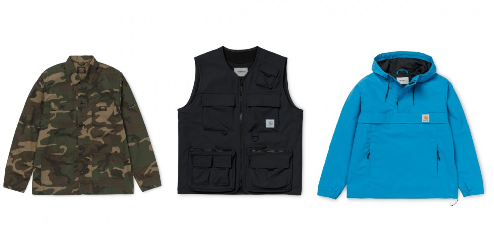 Samples of the three collections by Carhatt, from left to right: Military, Outdoors and New Age Casuals (pictures courtesy of Carhatt)