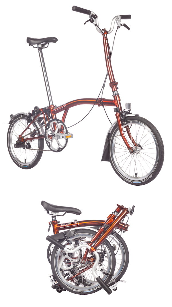 Brompton's foldable bike in Flame Lacquer (pictures courtesy of Brompton)