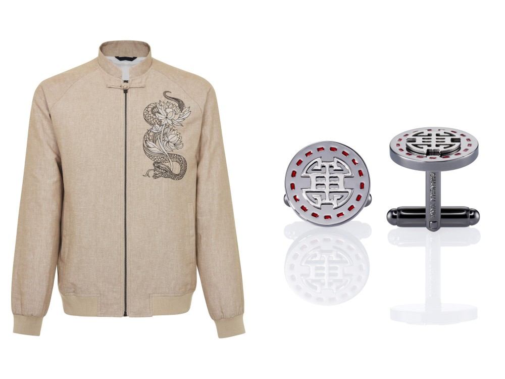 Shanghai Tang's Zip up Bomber Jacket with Snake and Tiger Embroidery (right) and Stamp Shou Cufflinks (left) (pictures courtesy of Shanghai Tang)